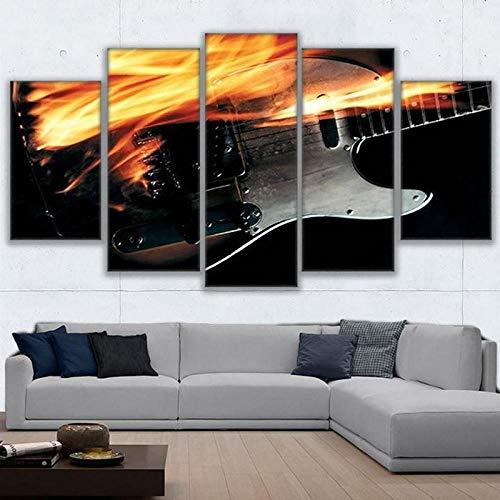 Admitacre Leinwand Wandkunst 5 Gemälde auf Leinwand Home Decor Modular Picture Leinwand Malerei 5 Stück E-Gitarre Flammen abstrakte Poster Wand für Wohnzimmer moderne Art(Rahmenlos)150 * 100CM
