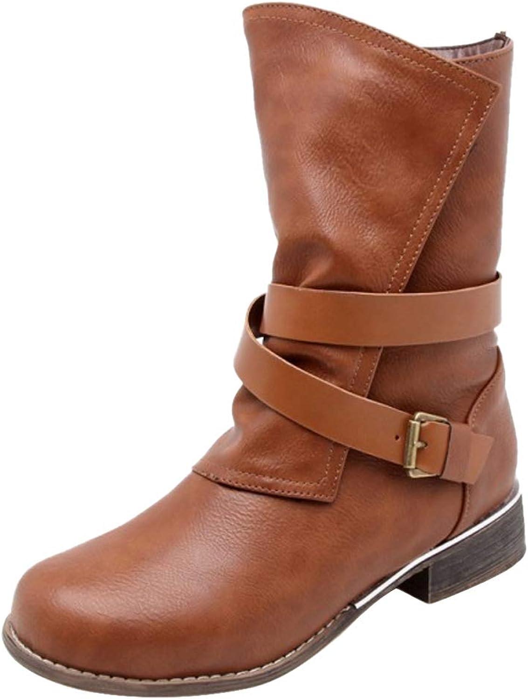 JOJONUNU Women Low Heel Slouch Boots