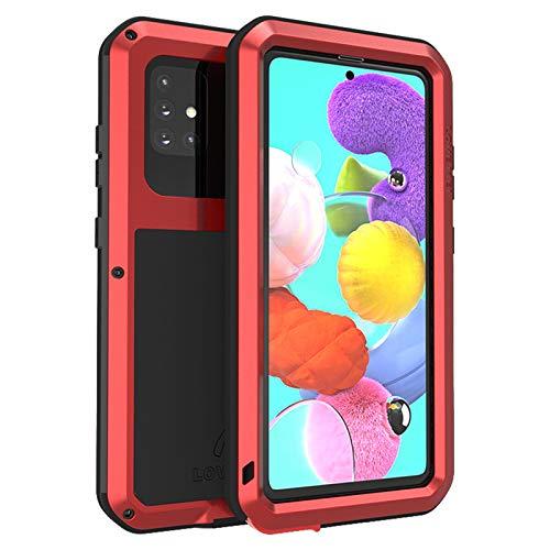 Funda para Samsung Galaxy A51/A51 5G/A71/A71 5G, [Antigolpes] Carcasa Resistente Reforzada Metálica Grado Militar con Protector de Pantalla, Anti-rasguño Cover,Red,A71 5G