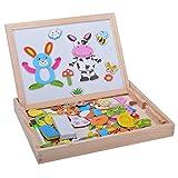 Minetom Baby Lernspielzeug Kinder Aus Holz Zeichnung Tafel Staffelei Magnetic Doodle 3D Holz Malen Tool -