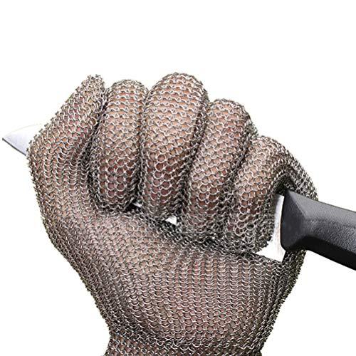 Schnittfeste Handschuhe-XHZ Einzelner Anti-Schneid-Edelstahl-Drahtgitter-Metzger-Sicherheitsarbeitshandschuh zum Schneiden und Schälen von Silber, Größe: XS, S, M. (Size : X-Small)