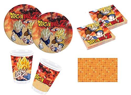 Giocoplast s.p.a. Kit Coordinato Completo per Feste e Compleanni Dragon Ball Goku per 24 Persone (Piatti-Bicchieri-tovaglioli-tovaglia)