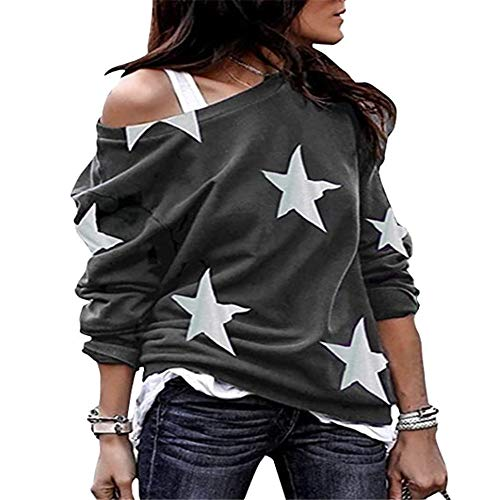 SFYZY Damen Langarm Pentagram bedrucktes Hemd Off-Shoulder Shirt Loose Batwing Top Damen Loose Cold Shoulder Casual Top T-Shirt