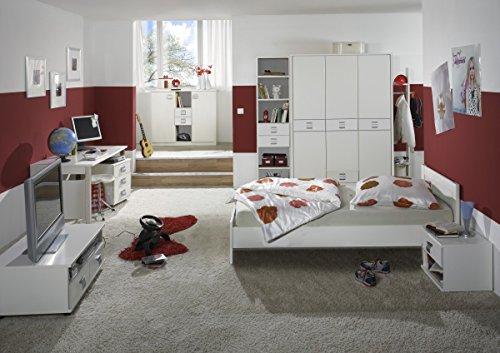 Dreams4Home Jugendzimmer 'Vamo White', Kinderzimmer, Kinderschreibtisch, Schreibtisch, Kinderzimmerset, Einlegeböden:3 Einlegeböden (87 cm);Schubkastenkommode:mit Schubkästen