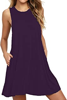VIISHOW Women's Casual Plain Simple T-Shirt Pockets Loose Dress (L, 1Purple)