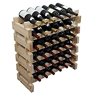 Wine Rack Pine Wood Stackable Storage Stand Display Shelves, Wobble-Free,...
