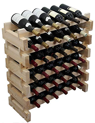 Wine Rack Pine Wood Stackable Storage Stand Display Shelves, Wobble-Free, Thick Wood,