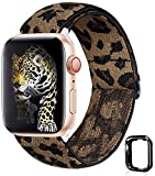 Adjustable Elastic Watch Band for Apple Watch,Cute Soft Stretch Sport Solo Loop Band Wrist Strap Compatible/Replacement with Iwatch 38mm 40mm Series SE 1 2 3 4 5 6(B-Leopard, 38mm/40mm)