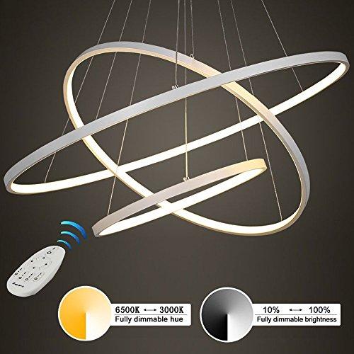 Illuminazione moderna del soffitto dell'anello del LED 3, impianto di illuminazione del soffitto del lampadario dell'ufficio dell'acciaio e del metallo per la casa e lo studio, regolazione graduale 30