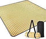 Elikliv - Manta de pícnic para camping, jardín, impermeable, plegable, portátil con asa multiusos 200 x 200 cm, giallo bianco