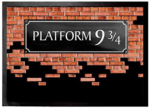 1art1 Ziegelstein-Mauern - Gleis 9 3/4 Fußmatte Innenbereich und Außenbereich   Design Türmatte 70 x 50 cm