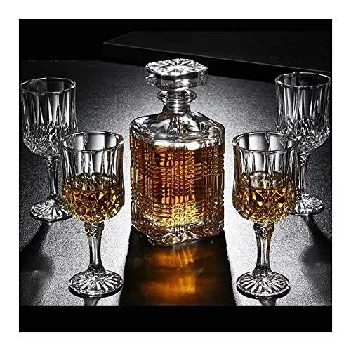 RVTYR Decantadores de whisky Decantador de whisky de 7 piezas y vasos de cristal sin plomo con cubierta Decantador de whisky de 750 ml para hombres, papá, marido, juego de copas de vino (color: A)