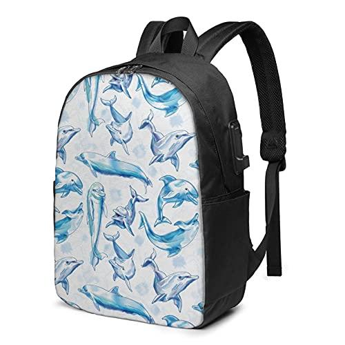 Zaino da viaggio con delfino, zaino da viaggio per computer portatile con porta di ricarica USB per uomini e donne da 17 pollici, Come mostrato, Taglia unica,