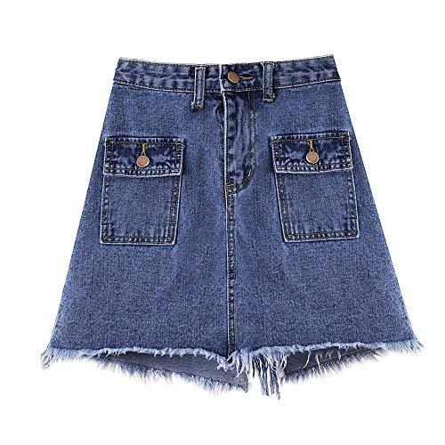 DER Sommer lässig abnehmen EIN Wort hohe Taille Wilde Tasche Hüftrock Koreanische Version des großen Jeansrock
