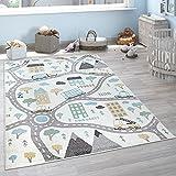 Paco Home Kinderteppich Teppich Kinderzimmer Spielteppich Pastell Junge Mädchen Auto Straße Haus Creme Petrol Grau Gelb, Grösse:133x190 cm