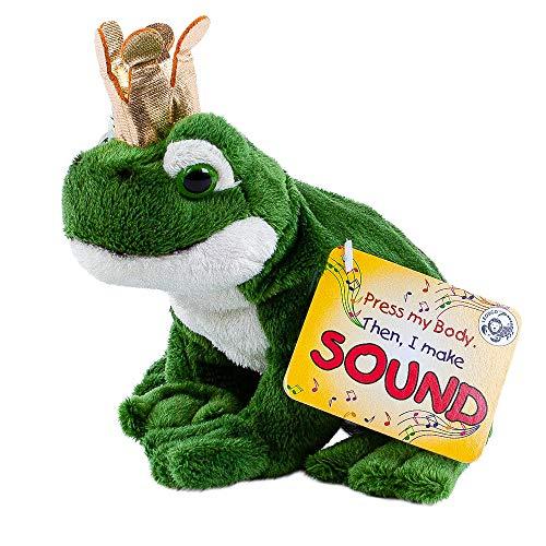 Teddys Rothenburg Froschkönig Kuscheltier Frosch mit Sound (Quaken) und Goldener Krone 15 cm