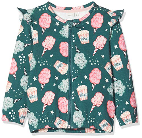 Name It Nmfrifa Sweat Card Bru Blouson, Bleu (Mallard Blue Mallard Blue), 92 Bébé Fille