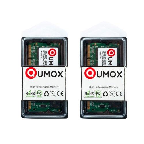 QUMOX 2GB (2x1GB) DDR SODIMM (200 pin) 333Mhz PC2700 DDR333 MEMORIA PORTATILE
