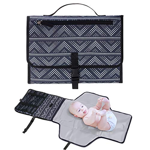 Portable Changing Pad Neon Baby Changing Pad Portable Changing Mat, Cushioned Diaper Changing Pad with Built-in Pillow & Baby Stuff Pockets, Waterproof Baby Travel Changing Station Boy Girl Best Gift