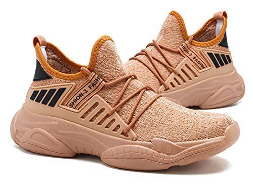 ZKPZYQ Zapatillas de deporte para hombre y mujer, zapatillas de caminar, ligeras, antideslizantes, transpirables, para correr, (41, marrón A)