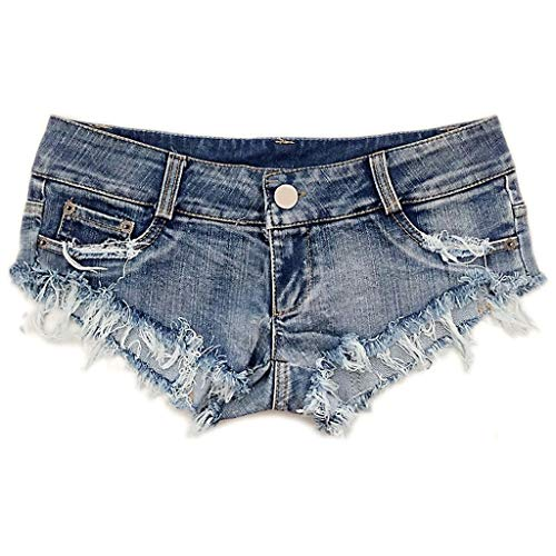 HGhot Mini Shorts Denim Stretchable abgeschnitten Low Rise Taille Sexy Micro Jeans Hot Pants für Frau Mädchen Teen (Farbe : Blau, größe : M)
