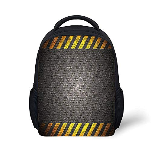 Kids School Backpack Construction,Abstract Background with Caution Tape Inspired Frame Borders Decorative,Dark Taupe Yellow Marigold Plain Bookbag Travel Daypack