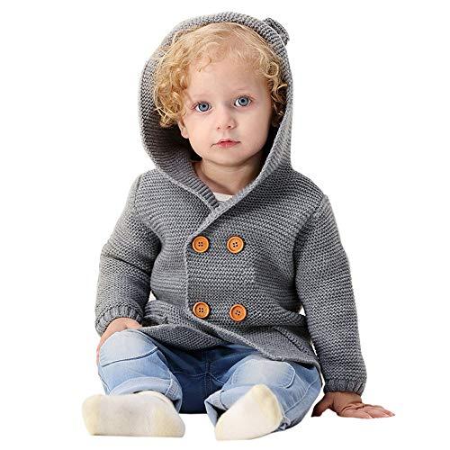 Manteau Bébé, Mamum Bambin Petites Filles Sweat-Cardigan, Vêtement Chaud Bébé Manteau Tricoté Avec les Oreilles (gris, 80(12Mois))