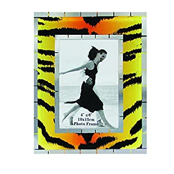 Rockin Gear Glass Photo Frame Tiger Print Design Wall and Table Top Picture Frame - Holds a 4  x 6  Print  Tiger