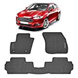 TeddyTT Floor Mats Compatible with Ford Fusion 2013 2014 2015 2016 2017 2018 2019 2020 Heavy Duty Rubber Front&Rear Car Carpet Waterproof Custom Seasons Odorless All Weather 3D high Edge Anti-Smudge