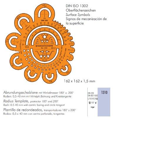 Abrundungsschablone, 160mm lang, 160mm hoch, orange-transparent