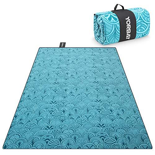 Yorbay Picknickdecke 200 x 300 cm XXXL Fleece wasserdicht Decke mit Tragegriff Mehrweg (Blaue Feder)