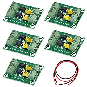 Youmile 5PCS PC817 2 Channel Optocoupler Isolation Board Voltage Converter 3.6-30V Driver Photoelectric Isolated Module with 24AWG Wire