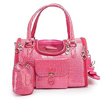 Dog Carrier PU Leather Dog Handbag Dog Purse Cat Tote Bag Pet Cat Dog Hiking Bag Travel Bag.fits Under 4 pounds S Pink