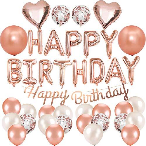 Geburtstagsdeko Rosegold Deko, Roségold Konfetti Luftballons Herzfolie Luftballons mit Happy Birthday Balloons Banner für Geburtstagsfeierzubehör