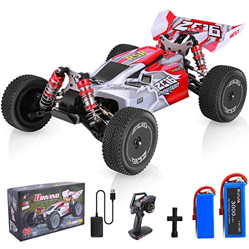Remote Control Car, Wltoys 144001 RC Car with 2 Batteries, 1:14 Scale 60 Kmh High Speed RC Car, 4WD 2.4GHz Off Road Trucks Toys, Racing Off-Road Drift RC Cars for Adults & Kids Gifts