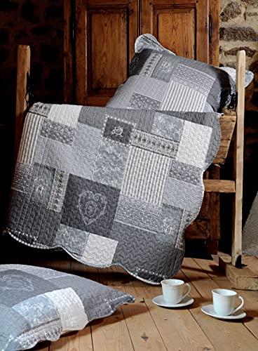 Lovely Casa Arkansas Boutis avec 2 Taies, Polyester, Gris, 260 x 240 cm