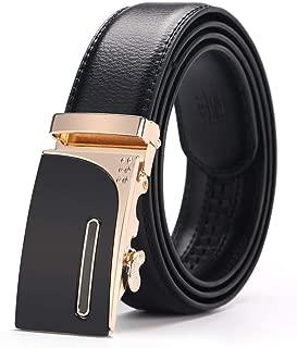 Men Ratchet Click Designer Genuine Leather Belts Fashion Automatic Buckle Belts