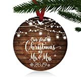ZUNON First Christmas Ornaments 2019 Our First Christmas as Mr & Mrs Couple Married Wedding Decoration 3' Ornament