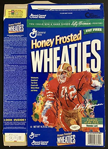 Ronnie Lott Signed Cereal Box Wheaties Football Autograph w LeRoy Neiman Sig JSA - Autographed Footballs