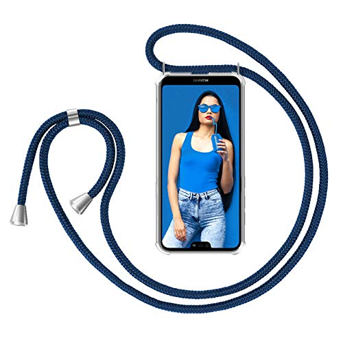 ZhinkArts Handykette kompatibel mit Huawei P20 Lite - Smartphone Necklace Hülle mit Band - Handyhülle Hülle mit Kette zum umhängen in Blau