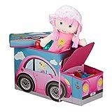 Relaxdays Baúl para juguetes, Taburete infantil plegable, Caja con compartimento, Para niños y niños, Forma de autobús, 50 L, Coche rosa