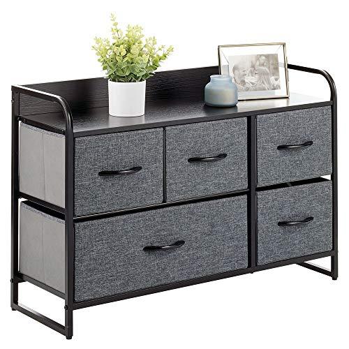 MDESIGN Kommode mit 5 Schubladen – breiter Schubladenschrank für Schlafzimmer, Wohnzimmer oder Flur – Kleiderkommode aus Metall, MDF und Stoff – schwarz/grau
