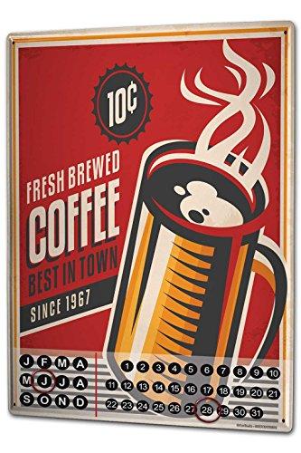 Wandkalender 2019 Jahreskalender Dauerkalender 2020 Kalender 2021 Terminplaner Fotokalender Restaurant Küche frisch gebrühter Kaffee Metall Magnet