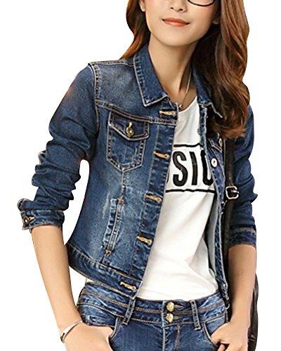 Femme Casual Slim Fit Denim Veste Manches Longues Manteau en Jean Bleu 2XL