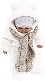 Mousmile Infant Baby Boys Girls Fleece Snowsuit Winter Warm Bunting Sherpa Hooded Jumpsuit Thick Pajamas Coat