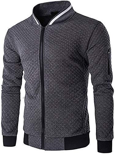 Veravant Sweat-Shirt Homme Manches Longues Pull Uni Zippé Bomber Blouson Veste Sport - Gris foncé - Large