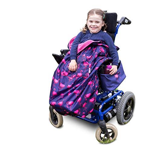 Saco infantil para sillas de ruedas y cochecitos pediátricos - Diseño de flamencos - Azul marino