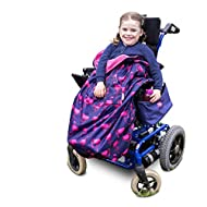 100% Waterproof Fleece-Lined Wheelchair Cozy Wheelchair Blanket   Universal fit for wheelchairs and Special Needs Buggies   Child Size (Navy Flamingo))