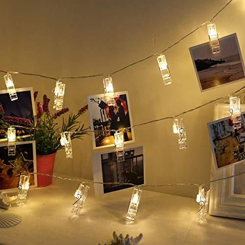 Clip de fotos Tarjeta de guirnalda Cadena de luz LED Luz de hadas LED Guirnalda de Navidad Decoración Cadena de luz Batería 3m30 leds