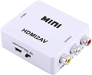 Sutinna RCA a HDMI Digital, Mini 720p/1080p AV a HDMI Video 3RCA CVBs Video Compuesto Convertidor de Audio con Cable de Ca...
